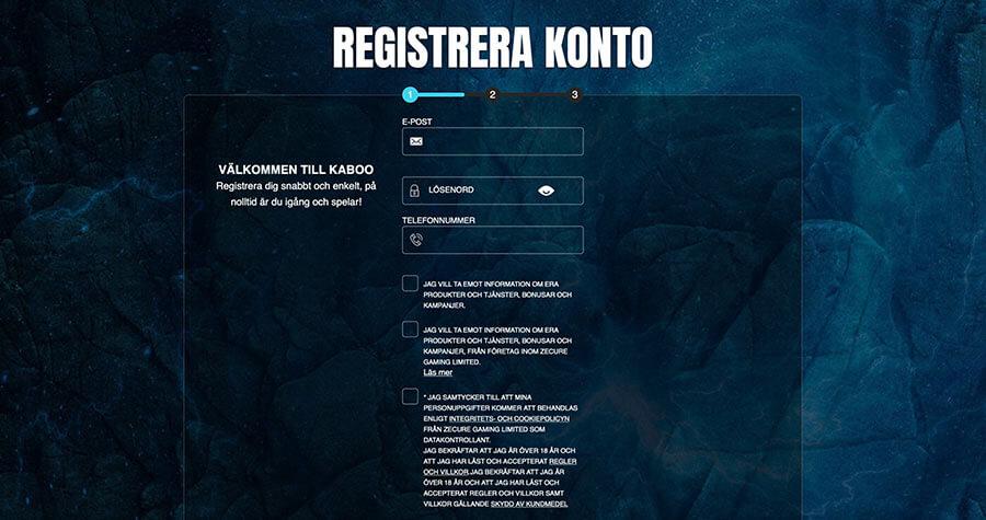 Registrering hos Kaboo