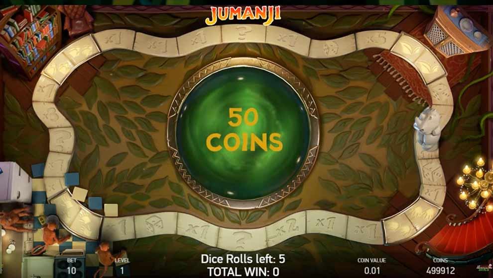 Jumanji video slot gameplay